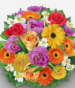 Spring Flowers-Mixed,Orange,Peach,Purple,Red,White,Yellow,Alstroemeria,Carnation,Daisy,Gerbera,Lily,Mixed Flower,Rose,Bouquet