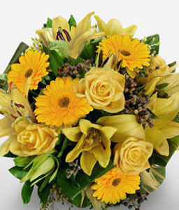 Yellow Treasure-Yellow,Rose,Mixed Flower,Lily,Gerbera,Bouquet