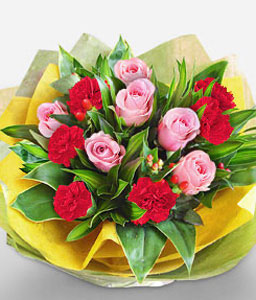 Loving Thoughts-Pink,Red,Carnation,Rose,Arrangement