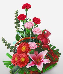 Dearest One-Pink,Red,Daisy,Gerbera,Lily,Arrangement