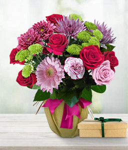 Tender Elegance-Green,Mixed,Pink,Red,Rose,Mixed Flower,Gerbera,Daisy,Chrysanthemum,Chocolate,Carnation,Bouquet