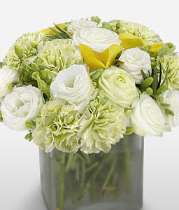 Pristine Assemblage-Green,Mixed,White,Carnation,Mixed Flower,Rose,Arrangement
