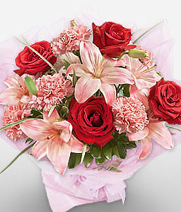 Valentines Flowers-Mixed,Pink,Red,Carnation,Lily,Mixed Flower,Rose,Bouquet