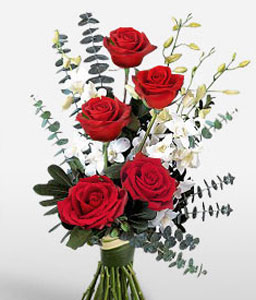 Coral Poise - 5 Red Roses-Red,White,Orchid,Rose,Bouquet