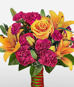 Tantra Mantra-Mixed,Orange,Pink,Red,Carnation,Lily,Mixed Flower,Rose,Bouquet