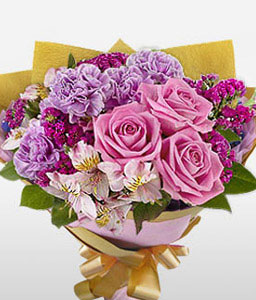 Happiness Galore-Mixed,Pink,Purple,White,Alstroemeria,Carnation,Mixed Flower,Rose,Bouquet