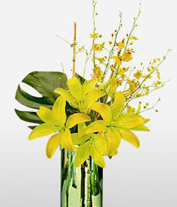 Aureate Drops-Yellow,Lily,Orchid,Arrangement