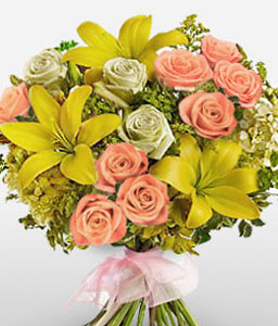 Delightful Lilies And Roses-Mixed,Pink,Yellow,Lily,Mixed Flower,Rose,Bouquet
