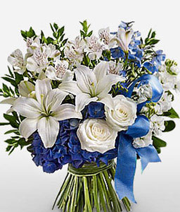 Alluring White Mixed Flowers-Blue,White,Alstroemeria,Lily,Mixed Flower,Rose,Bouquet