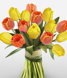 Reveal-Orange,Yellow,Tulip,Bouquet