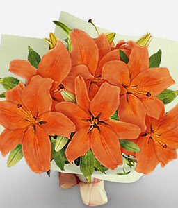 Salmon Smile-Orange,Lily,Bouquet