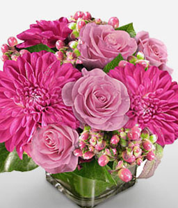 Glittering Birthday Wishes-Pink,Dahlia,Mixed Flower,Rose,Arrangement