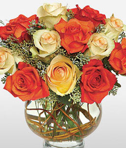 Moon Roses-Mixed,Orange,Red,Yellow,Rose,Arrangement