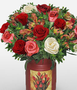 Palacio Da Alvorada-Mixed,Peach,Red,White,Alstroemeria,Rose,Arrangement