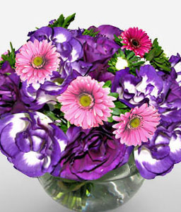 Ocean Blue-Mixed,Pink,Purple,Daisy,Mixed Flower,Arrangement