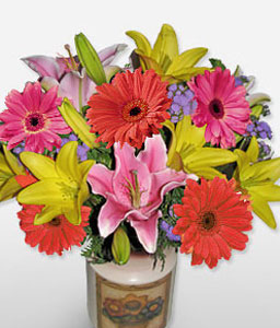 Rio Carnival-Mixed,Pink,Yellow,Gerbera,Iris,Mixed Flower,Arrangement