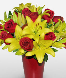 Cidade Do Samba-Red,Yellow,Rose,Lily,Bouquet