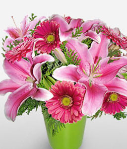 Palo Alto-Pink,Gerbera,Lily,Mixed Flower,Arrangement