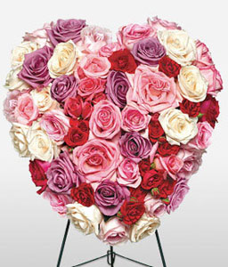 Loving Heart Standing Spray-Mixed,Pink,Red,White,Rose,Arrangement