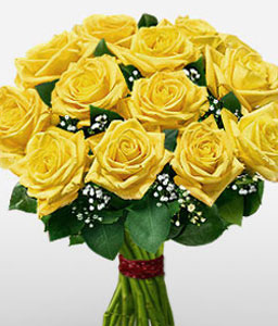 Purest Endeavour Of Yellow Roses-Yellow,Rose,Bouquet