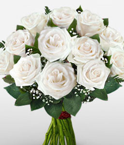 Elegant Sparkle-White,Rose,Bouquet