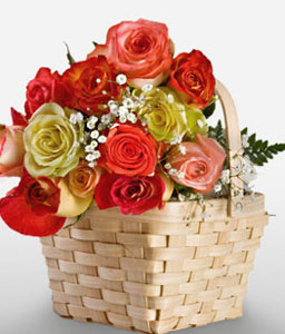 Myriad Love-Orange,Peach,Red,Yellow,Rose,Arrangement,Basket