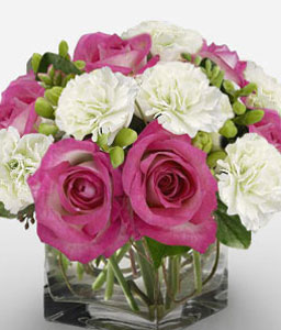 Bon Ton-Pink,White,Carnation,Rose,Arrangement