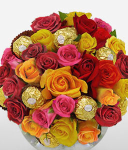Multi Colored Roses With Ferrero-Mixed,Pink,Red,Yellow,Chocolate,Rose,Arrangement