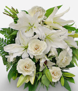 Tender Surrender-White,Lily,Rose,Bouquet