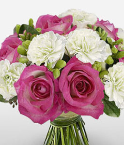 Bon Ton - Pink Roses & White Carnations-Pink,White,Carnation,Rose,Bouquet