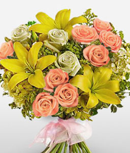 Simply Classy-Peach,Pink,White,Yellow,Lily,Rose,Bouquet