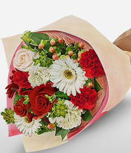 Clutched Bouquet-Red,White,Carnation,Daisy,Gerbera,Rose,Bouquet