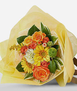 Kenrokuen Park-Orange,White,Yellow,Daisy,Gerbera,Rose,Bouquet