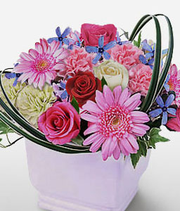 Mixed Flowers In Vase-Blue,Mixed,Pink,Red,White,Carnation,Daisy,Gerbera,Mixed Flower,Rose,Arrangement