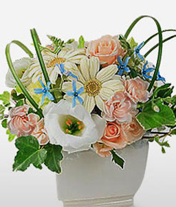 Swan Valley-Peach,White,Rose,Carnation,Arrangement