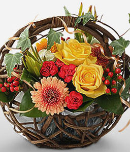 Osaka Charms-Peach,Red,Yellow,Carnation,Daisy,Gerbera,Rose,Arrangement,Basket