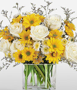 Sunshine Fields-Mixed,White,Yellow,Daisy,Mixed Flower,Rose,Arrangement