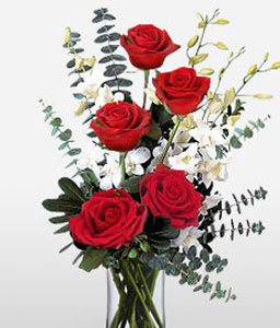 Je Taime Paris-Red,White,Orchid,Rose,Arrangement