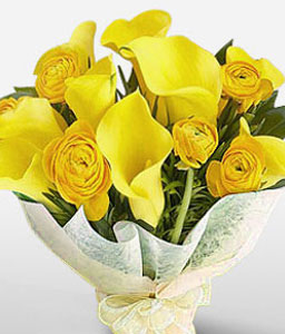Southern Sunshine-Yellow,Lily,Rose,Bouquet