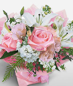 Elegant Dreams-Pink,White,Rose,Mixed Flower,Lily,Carnation,Bouquet