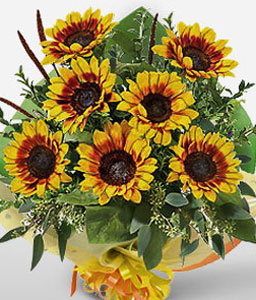 Glowing Splendor-Yellow,SunFlower,Bouquet