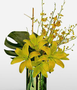 Blooming Lillies And Orchids-Yellow,Lily,Orchid,Arrangement