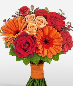Myriad Majesty-Mixed,Orange,Red,Carnation,Gerbera,Mixed Flower,Rose,Bouquet