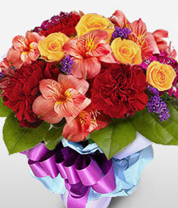 Chic Birthday Bouquet-Mixed,Pink,Red,Yellow,Alstroemeria,Carnation,Mixed Flower,Rose,Bouquet