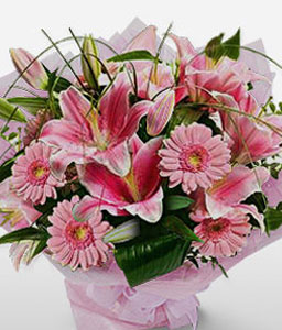 Pink Frill-Pink,Gerbera,Lily,Bouquet