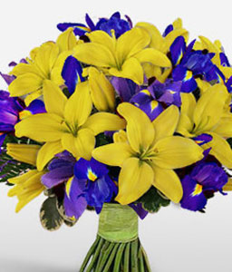 Blue Waters-Blue,Yellow,Iris,Lily,Bouquet