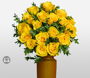 Yellowstone 18 Long Stem Skyline Roses <font color=red>Designer Free Vase</font>
