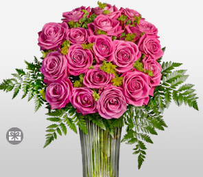 Long Stem Pink Roses in Vase-Pink,Rose,Arrangement