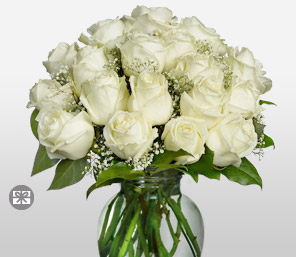 Elizabeth <Br>18 Long Stem Vendella Roses <Br><Font Color=Red>Free Clear Ginger Vase </Font>