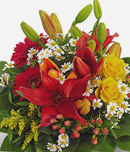 Spring Affair of Mixed Flowers-Green,Mixed,Orange,Red,Yellow,Gerbera,Lily,Mixed Flower,Rose,Arrangement